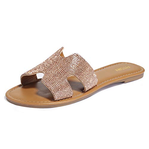 Sommer Gold Schuhe (Damen Flach Elegant Sandalen mit Strass Peeptoe Sommer Glitzer Schuhe Gold&Silber Gr. 36-41)