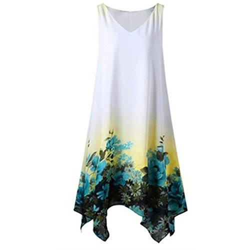 Binggong Kleid Kleid Damen,Binggong Frauen Plus Size Blumendruck Chiffon ärmellose Unregelmäßige Hem Minikleid (L, Grün) Chiffon Dot