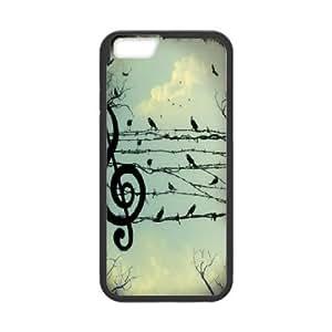 IPhone 6 Plus Case Music Note Birds, [Black]