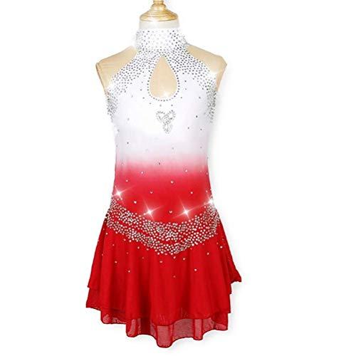 YunNR Mädchen/Kinder Professional Eiskunstlauf-Wettbewerb Kleid Ärmellos Strass Hoher Kragen Eislaufen Wear Hohl Gymnastik Performance Bekleidung,White,XXL