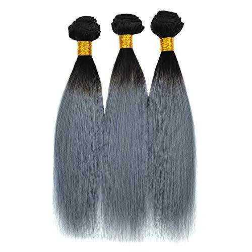 """ERSD 10""""-18"""" Afro verworrene lockige Glatte Haarspange in Echthaar Extensions dunkelgrau voller Kopf brasilianisches Echthaar Composite Haar Lace Perücke Rollenspiel Perücke"""