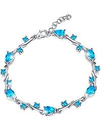 MARENJA Cristal-Bracelet Femme avec Cristal Bleu en Goutte d'Eau-Plaqué Or Blanc-Bijoux Fantaisie-17+3cm