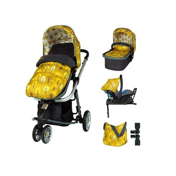 Cosatto Giggle 3 Travel System in Spot The Birdie with Car Seat Base Bag footmuff & Raincover Cosatto Easily transforms to be used with carrycot, pushchair seat and matching Cosatto group 0+ car seat (included). Compact, easy fold. Lightweight aluminium chassis. All-round suspension for a smooth ride. Quick-release removable premium wheels. 1