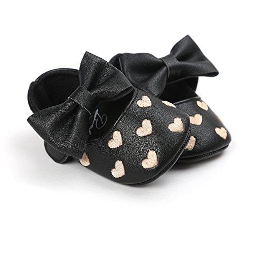 Chaussures de bébé Auxma bébé fille Bowknot chaussures en cuir doux baskets glisser seul enfant pour 0-18 mois (6-12 M, Rouge) Noir