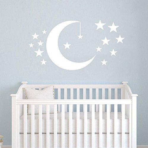 Adhesivo decorativo con diseño de luna y estrellas, para paredes de la habitación del bebé o para decorar tu sala de los niños o la sala de juegos.