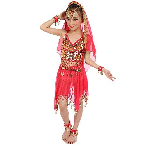 Zumba Kostüm Kinder - Lonshell Kinder Mädchen Bauchtanz Kleid mit Münzen Asymmetrischer Chiffon Performance Kostüm Kleid Ärmellos Ägypten Tanz Belly Dance Tanzkleid Tanzkostüme Outfit