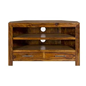 Cube Petite Sheesham corner TV Cabinet (Oaklands Furniture)