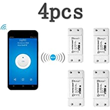 KOBWA Intelligente Interruttore Multifunzione WiFi Wireless di Controllo vocale per Uso Domestico, Compatibile con Alexa Echo Geogle Home Via iPhone Android App (4 pacchi)