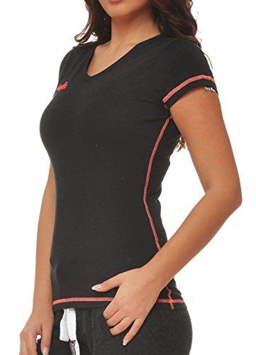 M.Conte Damen Fitness Sportliches T-Shirt Kurzarm Sweat-Shirt Schwarz Blau Lila Neon-Pink S M L XL Ragazza in Farbe Schwarz Größe L (Baumwoll-t-shirt Jumper)