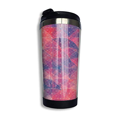 Stainless Steel Coffee Mugs Geometry Travel Coffee Thermal Mug 10 Oz (400ml) Insulated Cup Perfect for Travel, Camping, Hiking, The Beach and Sports -