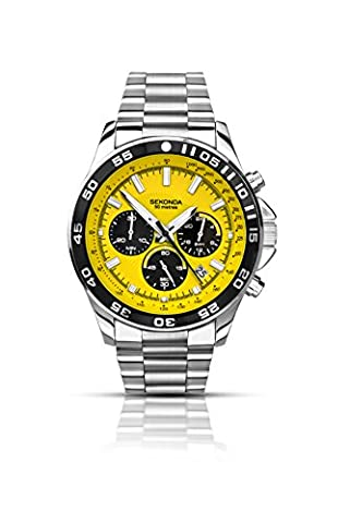 Sekonda Men's Quartz Watch with Yellow Dial Chronograph Display and Silver Stainless Steel Bracelet 1245.27