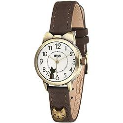 Reloj de Gato Mini Retro Mujeres Chicas Relojes - Correa de Cuero Linda Dibujos Animados Gato Cuarzo Relojes de Pulsera para Chicas
