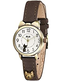 ufengke® wasserdicht vintage elegante katze bowknotentwurf quarz armbanduhren für frauen mädchen-braun