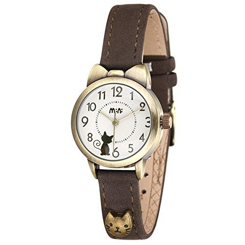 ufengke® elegante bowknot gato diseño reloj de pulsera cuarzo vendimia impermeable para mujeres niñas-marrón