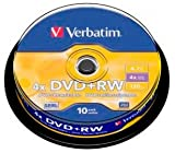 Tarrina DVD+RW Regrabable Verbatim 10 unds.