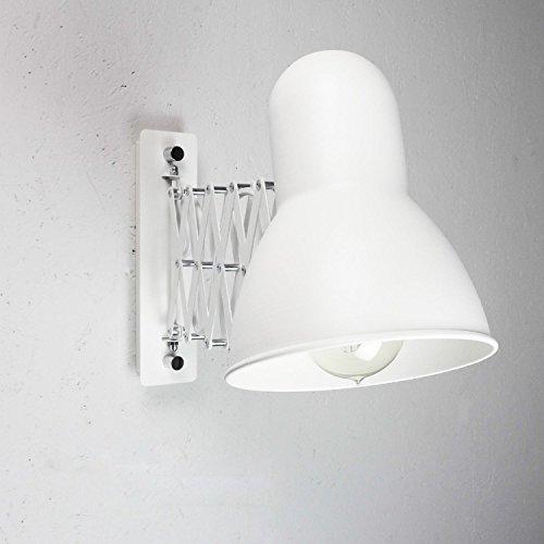 Ausziehbare flexible Wandleuchte in weiß E27 Vintage Wandlampe Leseleuchte Wand Wohnzimmer Schlafzimmer Küche Innen Beleuchtung