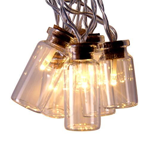 Lichterkett Retro Einmachglas LED Feenlichter Warmes Weiß 16 Lichter Konstant, Batteriebetrieben An/Aus/ Timer Modus - Klare Glasflasche