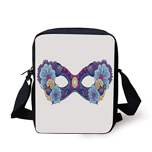 WITHY Masquerade,Colored Carnival Mask with Flowers for Masked Ball Celebration,Slate Blue Purple Fuchsia Print Kids Crossbody Messenger Bag Purse
