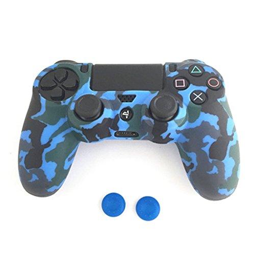 smallJUN Game Pad Schutz Camouflage Guards Grip Cover + 2 Kappen für Playstation 4 Ps4 Silikon Cover für Griff Blau