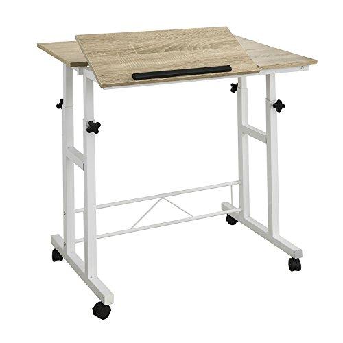 SoBuy FWT46-W Schreibtisch Computertisch mit Rollen Laptoptisch mit 2 Tischplatten...