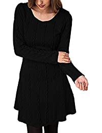 BienBien Robe Pull Tricot Femme Manches Longues Automne Hiver Mince Robe Sweater Tricot Casual A Line de Cocktail Party Mini-Robe Haut Pull-Over Jumper Tunique Blouse