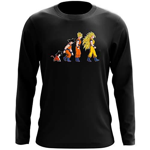 Okiwoki T-Shirt à Manches Longues Noir Dragon Ball Z - DBZ parodique Sangoku Super Saiyajin : La Théorie de l'évolution : (Parodie Dragon Ball Z - DBZ)