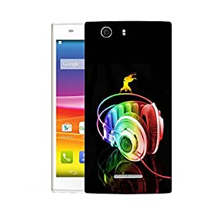 Snoogg Colorful Headset Designer Protective Back Case Cover For MICROMAX NITRO 2