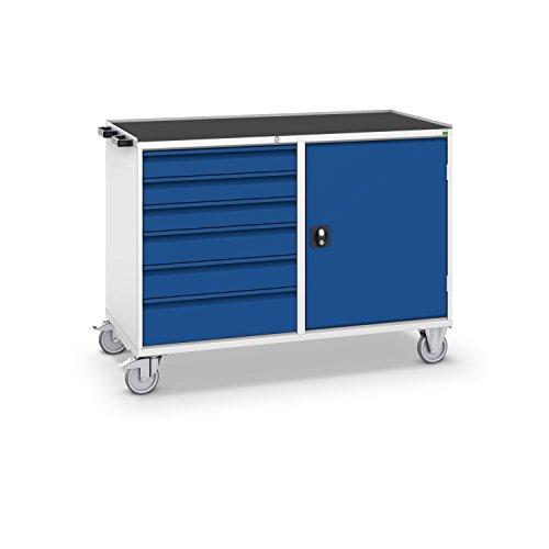 bott verso+ Montagewagen mit 6 Schubladen, 1 Tür und Zentralschloss, 3-seitiger Abrollrand und...