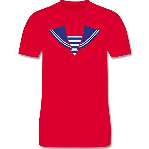 Karneval & Fasching - Matrose Kostüm Kragen - Herren Premium T-Shirt Rot