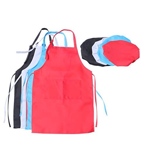 Kostüm Kittel Kleinkind - SUPVOX Malschürzen Verstellbarer Künstlerkittel mit Kappe für Kunsthandwerk-Malaktivitäten XL 4 Sets für Kinder von 7 bis 13 Jahren