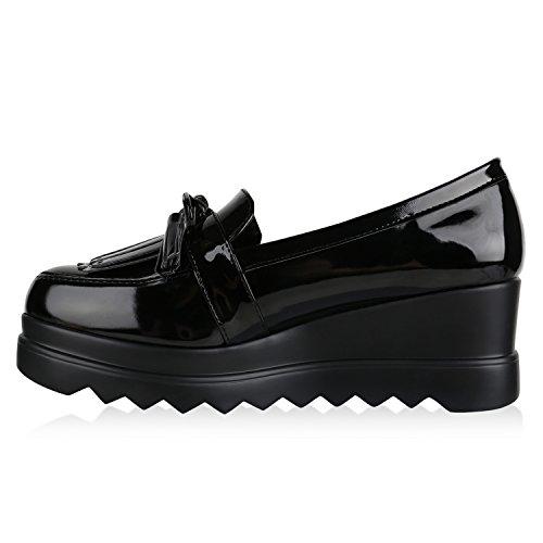 Funky Damen Slipper Lack Schuhe Profilsohle Plateau Loafers Lack Schwarz Fransen