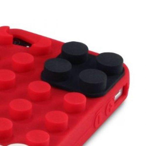 OBiDi - 3D Brique Coque en Silicone / Housse pour Apple iPhone 5S / Apple iPhone 5 - Blanc Rouge