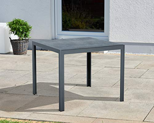 Gartentisch Terrasssentisch, Aluminium, mit Spraystone-Glasplatte in Steinoptik, Outdoor, für 2 Personen, 90 x 90cm, schwarz
