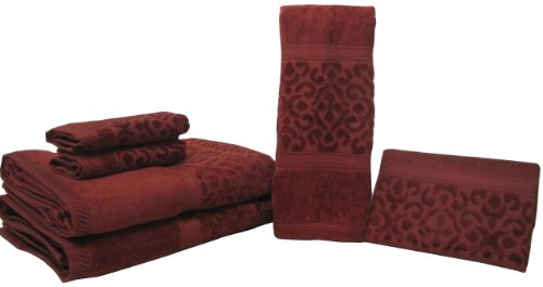 Vera-Tex veratex Regency Damast Handtuch 6-teilig, Baumwolle, Chili, 6-Piece Towel Set