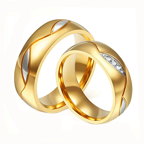 Daesar Schmuck Freundschaftsringe Ehe Ringe Herren Ring Damen Ring Edelstahl 1 Paar (2Pcs) 6mm Damen 49(15.6) & Herren 57(18.1)