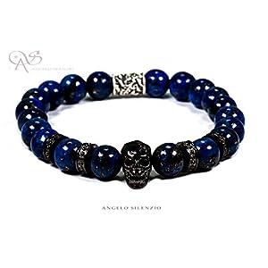 Perlenarmband Lapislazuli Perlen Black Skull 4 Crown Bracelet