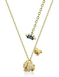 Disney Couture belleza y la bestia Sra. Potts y Chip de cristal chapado en oro collar