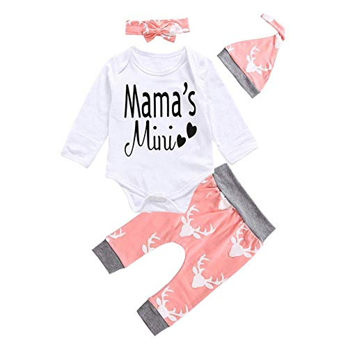 Beaulies Headband 4pcs Clothing Set for Baby, Letters Print Rompers Pants Hat Headband Suit (0-18M) (6-9Months)