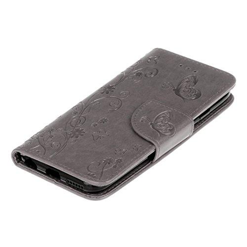 iPhone 6 Plus Cover Case HuaForCity® iPhone 6 Plus Custodia in Pelle PU Ultra Sottile Smartphone Indietro Portafogli Shell Case Copertina con Portabiglietti Slot Flip Chiusura Magnetica Stile del Libr grey