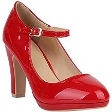 3a81c2c99055 Stiefelparadies Damen Pumps Mary Janes mit Blockabsatz Plateau Vorne  Flandell