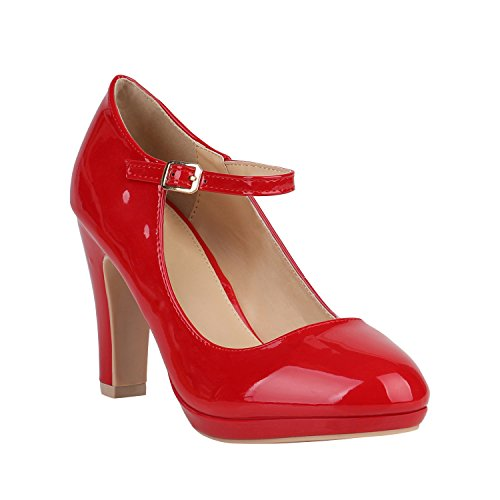 Damen Pumps Mary Janes Blockabsatz High Heels T-Strap 155274 Rot Lack Agueda 37 Flandell