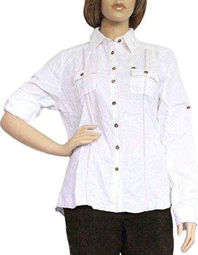 Trachtenbluse Damen Trachten lederhosen-bluse Trachtenmode weiß, Größe:44