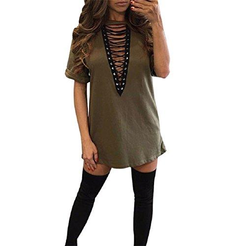Malloom Mode Damen Verband Bodycon Kurzarm Abend Partei Mini Kleid Armeegrün