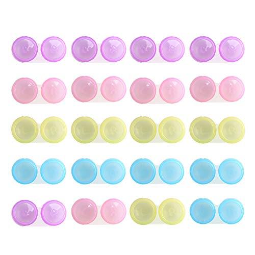 ETSAMOR 20pcs Kontaktlinsenbehälter Set Linsenbehälter Kontaktlinsendose Bunt Kontaktlinsen Behälter für Zuhause Reisen Weiche Harte Linsen, Gesundheit Hohe Qualität