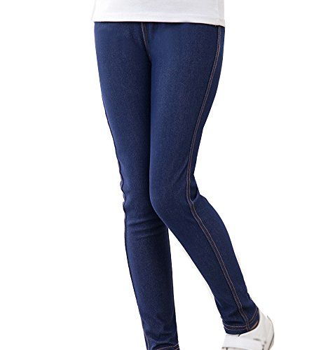 Guiran Kinder Warme Leggings Mädchen Leggins Hose Slim Fit Jeggings Legins Hosen Marine 140CM