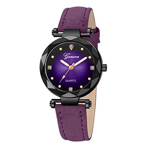 LILIGOD Damen Uhr Genf Frauen Lederband Edelstahl Quarz Analog Armbanduhr Business Lederuhr Einfach Elegant Uhren Temperament Wild Watches Schön Armband Schmuck