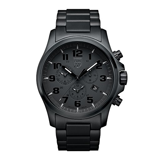 Luminox Atacama Field Chronograph Alarm  Men's Quartz watch with Black dial featuring LLT Luminox light Technology 45 millimeters Stainless Steel case and Black Stainless Steel Bracelet XL.1942.BOB