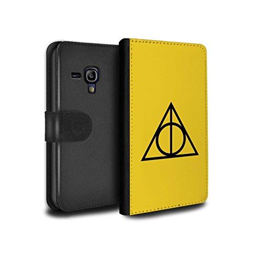 Stuff4® PU-Leder Hülle/Case/Tasche/Cover für Samsung Galaxy S3 Mini/Gelb Muster/Heiligtümer Todes Inspiriert Kollektion