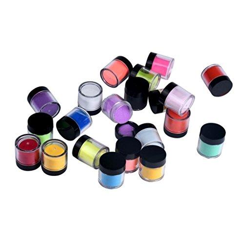 Tongshi 18 colores para uñas de acrílico extremidades del arte del gel ULTRAVIOLETA del polvo del polvo del diseño de la decoración 3D DIY de la decoración