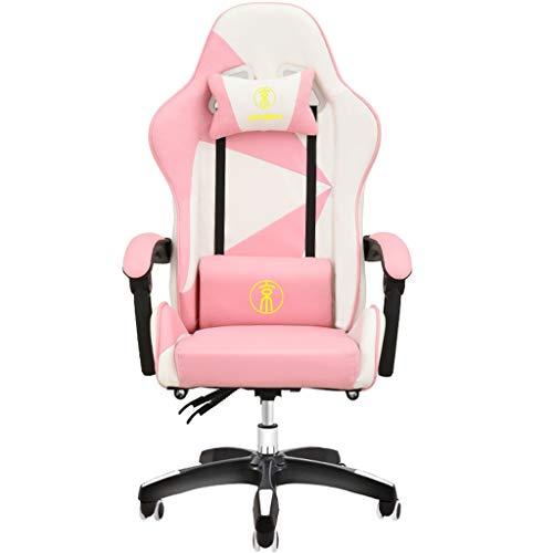 CXJC Gaming Stuhl Bürostuhl Schreibtischstuhl mit Fußstützen Gamer Stuhl Drehstuhl Höhenverstellbarer Massage Stuhl Sessel Ergonomisches Chefsessel mit Armlehne Pink-A